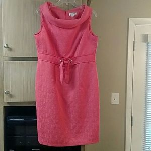 Sleeveless coral color textured dress